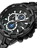preiswerte Leder-Herrn Sportuhr Kalender / Armbanduhren für den Alltag Edelstahl Band Luxus / Cool Schwarz / Silber