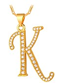 cheap Gloves-Men's Cubic Zirconia Pendant Necklace - Alphabet Shape, Letter Fashion Gold, Silver 55 cm Necklace For Gift, Daily