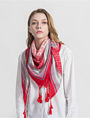 cheap Fashion Scarves-Women's Vintage / Party Square - Print Blue & White, Tassel