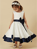 cheap Flower Girl Dresses-Princess Tea Length Flower Girl Dress - Satin Sleeveless Scoop Neck with Bow(s) / Sash / Ribbon by LAN TING BRIDE®