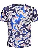 baratos Relógio Elegante-Homens Camiseta Moda de Rua / Exagerado Estampa Colorida / Animal Decote Redondo Gato / Manga Curta