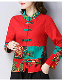 abordables Vestidos Estampados-Mujer Camiseta, Escote Chino Floral / Bloques