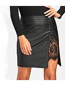 tanie Damska spódnica-Damskie Podstawowy Sztuczna skóra Mini Bodycon Spódnice - Praca Solidne kolory Koronka / Rozcięcie / Rurki
