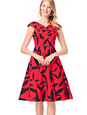 povoljno Ženske haljine-Žene Slim A kroj Haljina Cvjetni print V izrez Do koljena