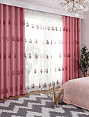 cheap Sport Watches-Curtains Drapes Living Room Floral 100%Polyester Faux Linen Embroidery