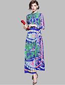 tanie Getry-Damskie Podstawowy Swing Sukienka - Geometric Shape, Nadruk Kołnierzyk koszuli Midi / Lato