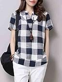 זול חולצה-קולור בלוק צווארון V חולצה - בגדי ריקוד נשים