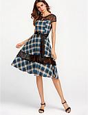 זול שמלות נשים-עד הברך תחרה, קולור בלוק - שמלה נדן כותנה בגדי ריקוד נשים