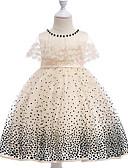 お買い得  レディースドレス-子供 女の子 水玉 / 波点 / 幾何学模様 ノースリーブ / 半袖 ドレス