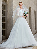 cheap Wedding Dresses-Princess Bateau Neck Chapel Train Lace / Tulle Made-To-Measure Wedding Dresses with Appliques / Crystal Brooch / Button by LAN TING BRIDE® / Illusion Sleeve / Beautiful Back