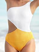 povoljno Bikini i kupaći 2017-Žene Osnovni Bez naramenica Plava Bijela Visoki struk Jednodijelno Kupaći kostimi - Color block M L XL / Sexy