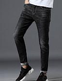 ieftine Pantaloni Bărbați si Pantaloni Scurți-Bărbați Bumbac Blugi Pantaloni - Geometric Negru