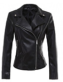 cheap Women's Leather & Faux Leather Jackets-Women's Street chic Leather Jacket - Solid Colored, Rivet