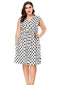hesapli Büyük Beden Elbiseleri-Kadın's Çan Elbise - Yuvarlak Noktalı V Yaka Diz-boyu