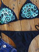 رخيصةأون ملابس السباحة والبيكيني 2017 للنساء-M L XL بدون ظهر / ترتر / محاك بربطات أوراق استوائية ورد, ملابس السباحة بيكيني مايوه برباط جانبي مثلث أزرق أحمر قبة مرتفعة حول الرقبة بوهو نسائي / مثير