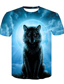 cheap Men's Tees & Tank Tops-Men's Club Basic / Street chic T-shirt - Color Block / Animal Wolf, Print Round Neck Light Blue XXL / Short Sleeve / Summer