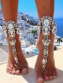 baratos Vestidos Femininos-Mulheres Corrente Grossa Bijuteria para Pés Imitações de Diamante senhoras Europeu Bikini Tornezeleira Jóias Dourado / Prata Para Diário Bikini Fantasias de Cosplay