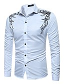 cheap Men's Shirts-Men's Basic Shirt - Solid Colored / Floral Black & White, Print