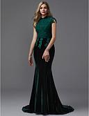baratos Vestidos de Noite-Sereia Gola Alta Cauda Corte Renda / Veludo Brilho & Glitter Evento Formal Vestido com Miçangas de TS Couture®