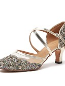 cheap Mother of the Bride Dresses-Women's Modern Shoes Faux Leather Heel Thick Heel Dance Shoes Gold