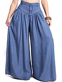 cheap Women's Pants-Women's Active Plus Size Cotton Wide Leg / Jeans Pants - Solid Colored Black & White, Tassel Blue