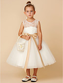 cheap Flower Girl Dresses-Princess Tea Length Flower Girl Dress - Lace / Tulle Sleeveless Jewel Neck with Bow(s) / Sash / Ribbon by LAN TING BRIDE®
