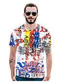 お買い得  メンズ下着&ソックス-男性用 プリント Tシャツ 活発的 / ストリートファッション 幾何学模様 / レタード