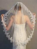 """זול הינומות חתונה-שכבה אחת סגנון פרח / שבכה / כיסויי ראש הינומות חתונה צעיפי מרפק עם גדילים (פרנזים) / שחבור 35.43 אינץ' (90 ס""""מ) פולי / טול"""