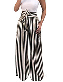 cheap Mother of the Bride Dresses-Women's Basic Wide Leg Pants - Striped