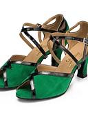 abordables Vestidos de Paso de Ecuador-Mujer Zapatos de Baile Latino Ante Sandalia Tacón Cubano Zapatos de baile Verde