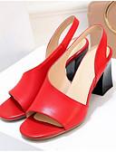 hesapli Çoraplar-Kadın's Ayakkabı Nappa Leather Yaz Rahat Sandaletler Kalın Topuk Açık Uçlu Günlük için Beyaz / Siyah / Kırmzı