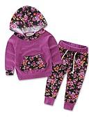 זול סטים של ביגוד לתינוקות-סט של בגדים ארוך ארוך שרוול ארוך דפוס דפוס חגים יום יומי / פעיל בנות תִינוֹק