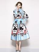 cheap Women's Two Piece Sets-SHIHUATANG Women's Boho / Street chic Shirt - Floral, Print Skirt