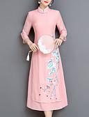tanie Print Dresses-Damskie Impreza Wzornictwo chińskie Pochwa Sukienka Haft Kołnierz stawiany Midi