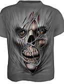 baratos Camisetas & Regatas Masculinas-Homens Camiseta Caveiras Algodão Decote Redondo / Manga Curta