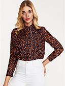 baratos Camisas Femininas-Mulheres Camisa Social - Trabalho Gola Redonda
