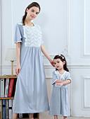 povoljno Obiteljski komplet odjeće-Mama i mene Osnovni Hlače - Jednobojni Svjetloplav