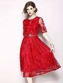 tanie Sukienki-Damskie Święto / Wyjściowe Vintage / Moda miejska Linia A Sukienka - Solidne kolory, Koronka Midi / Lato