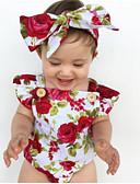 Χαμηλού Κόστους Βρεφικά σετ ρούχων-Μωρό Κοριτσίστικα Ενεργό Στάμπα Αμάνικο Βαμβάκι / Πολυεστέρας Ένα Κομμάτι Λευκό