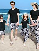 povoljno Obiteljski komplet odjeće-Odrasli Obiteljski izgled Boho Dnevno Cvjetni print Kratkih rukava Majica s kratkim rukavima Crn