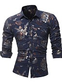 cheap Men's Shirts-Men's Club Cotton Slim Shirt - Floral / Please choose one size larger according to your normal size. / Long Sleeve