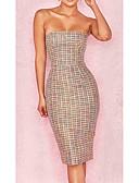baratos Macacões & Macaquinhos-Mulheres Básico / Moda de Rua Tubinho / Bainha Vestido - Frente Única, Sólido Acima do Joelho