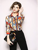 baratos Leggings para Mulheres-Mulheres Camisa Social Básico Estampado, Geométrica