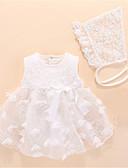 baratos Vestidos para Trabalhar-bebê Para Meninas Básico Sólido Sem Manga Poliéster Peça Única Branco / Bébé