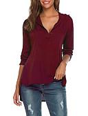 cheap Women's Tops-women's plus size cotton shirt - solid colored shirt collar