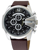 cheap Sport Watches-Men's Dress Watch Japanese Chronograph / Water Resistant / Water Proof / Large Dial Stainless Steel / Leather Band Luxury / Bangle Black / Silver / Brown / Two Years