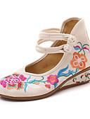 povoljno Moderni remeni-Žene Ravne cipele Embroided Cipele Wedge Heel Okrugli Toe Kopča Platno Udobne cipele Proljeće ljeto / Jesen zima Obala / Crn / Crvena