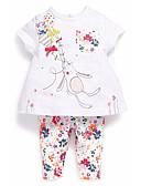 זול סטים של ביגוד לתינוקות-סט של בגדים כותנה שרוולים קצרים דפוס גיאומטרי ספורט בסיסי בנות תִינוֹק