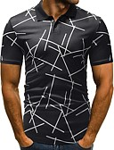 abordables Camisetas y Tops de Hombre-Hombre Básico Estampado - Algodón Camiseta, Cuello Camisero Delgado Geométrico Blanco XL / Manga Corta