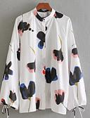 billige Kjoler til nyttårsaften-Høy krage Skjorte Dame - Geometrisk Hvit S